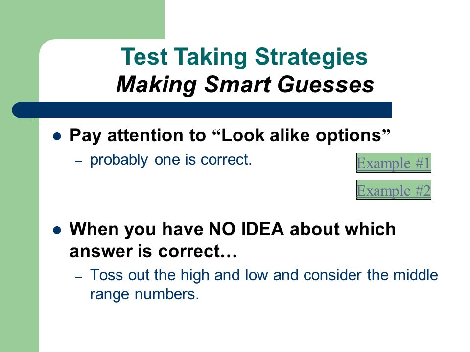 Test Taking Strategies Making Smart Guesses