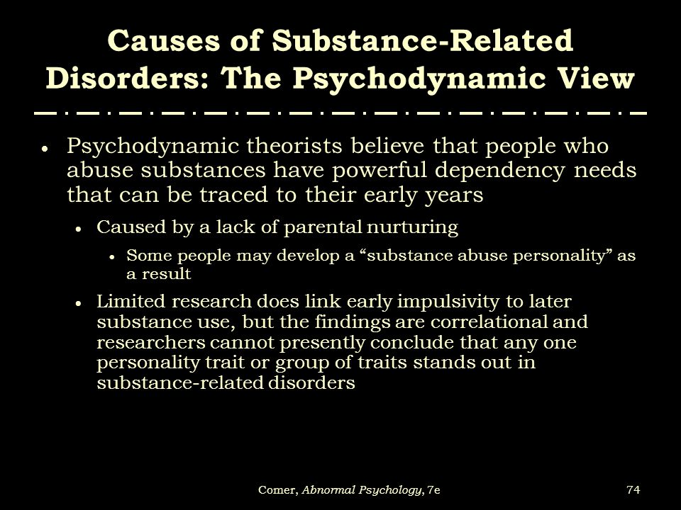 Causes of Substance-Related Disorders: The Psychodynamic View