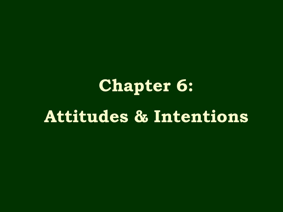 Attitudes & Intentions