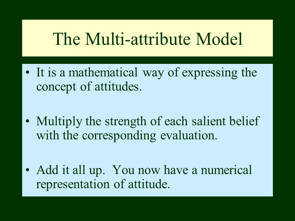 The Multi-attribute Model