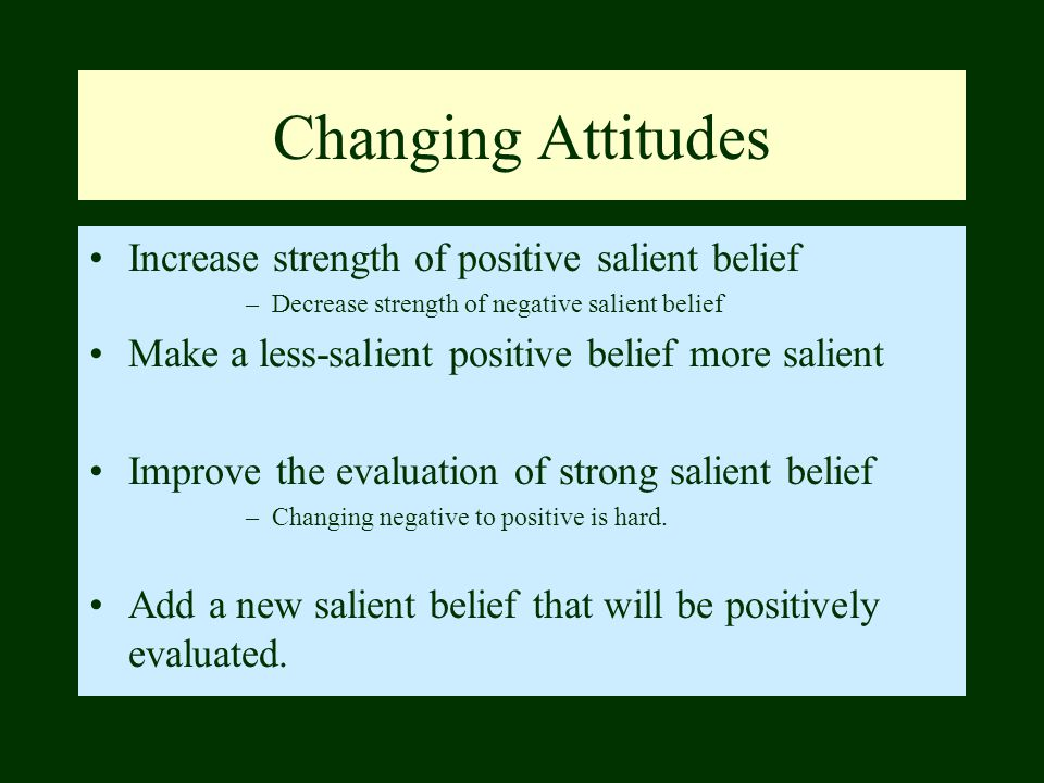 Changing Attitudes Increase strength of positive salient belief