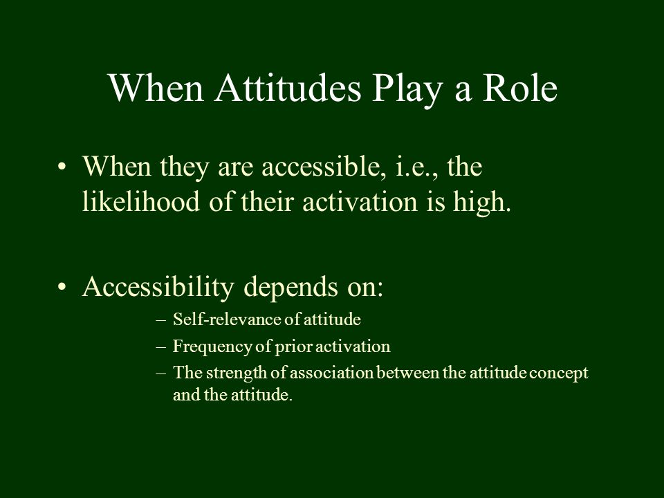 When Attitudes Play a Role