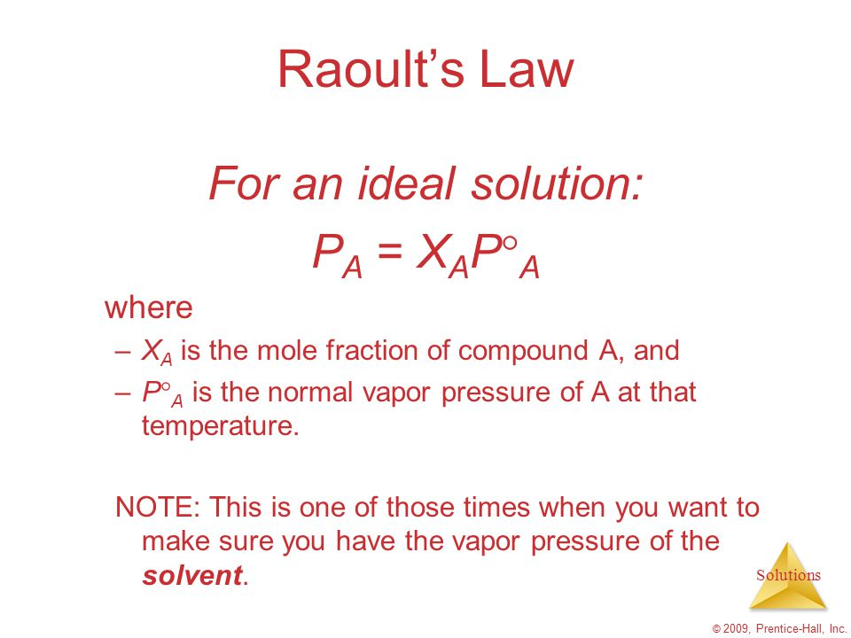 Raoult's Law For an ideal solution: PA = XAPA where