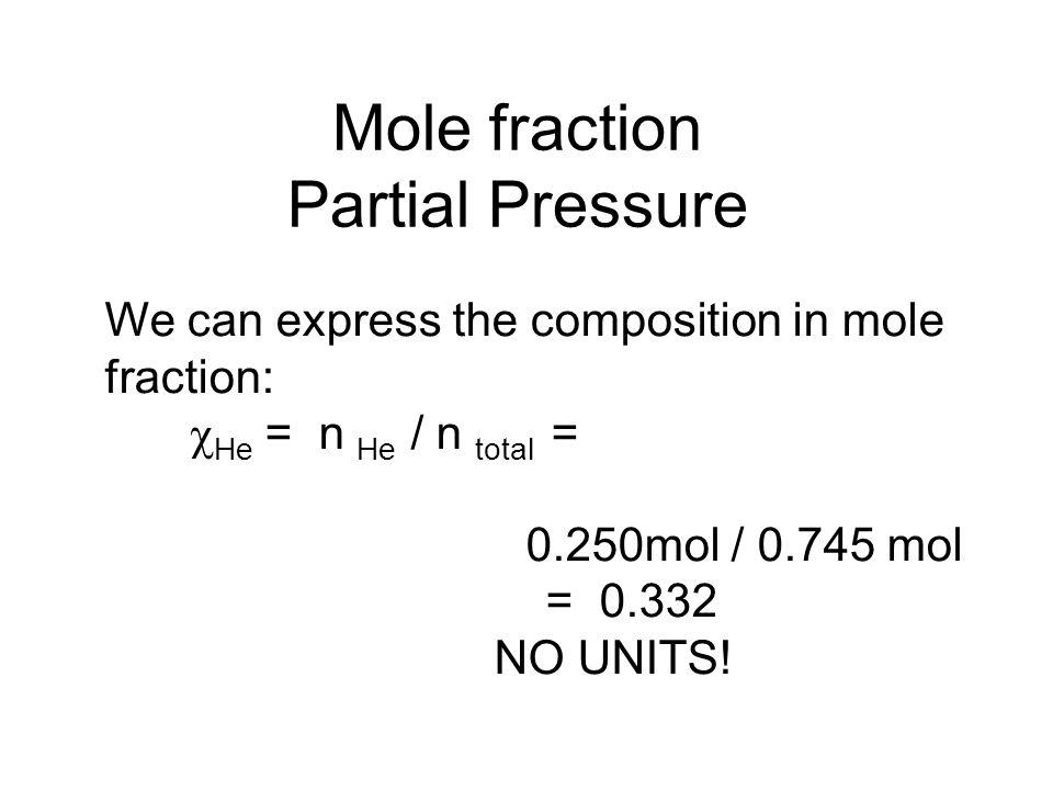 Mole fraction Partial Pressure