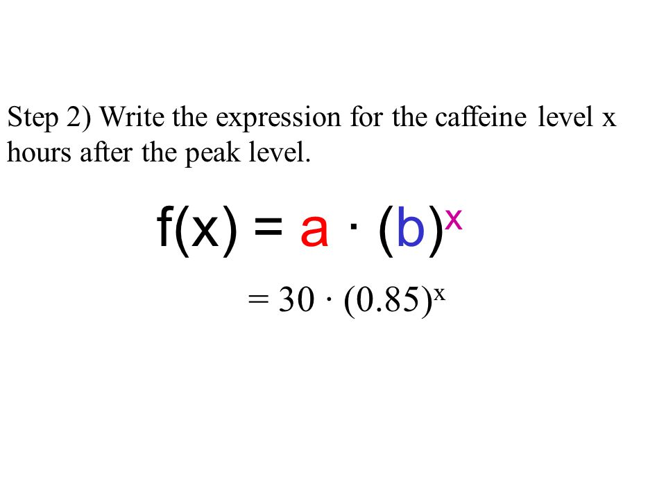 Step 2) Write the expression for the caffeine level x hours after the peak level.