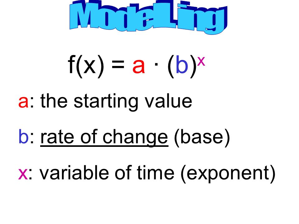 f(x) = a · (b)x a: the starting value b: rate of change (base)
