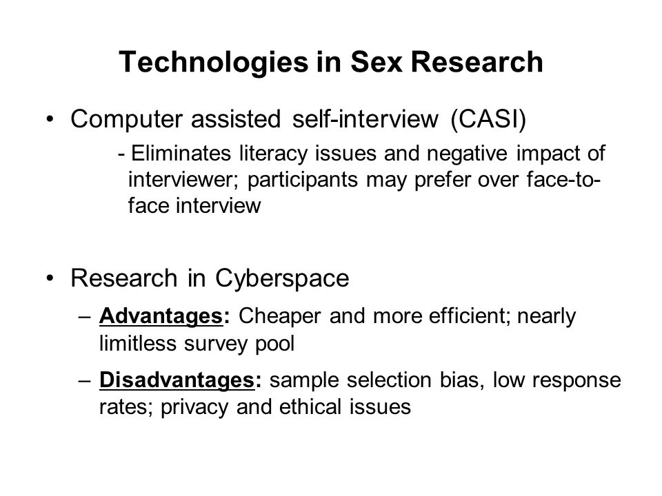 Technologies in Sex Research