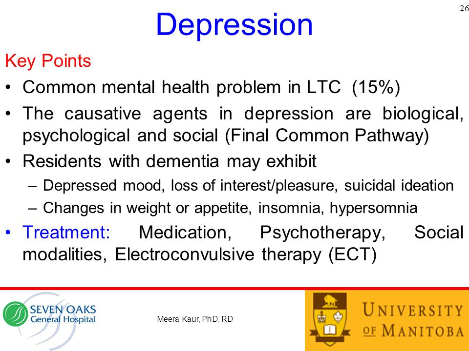 Depression Key Points Common mental health problem in LTC (15%)