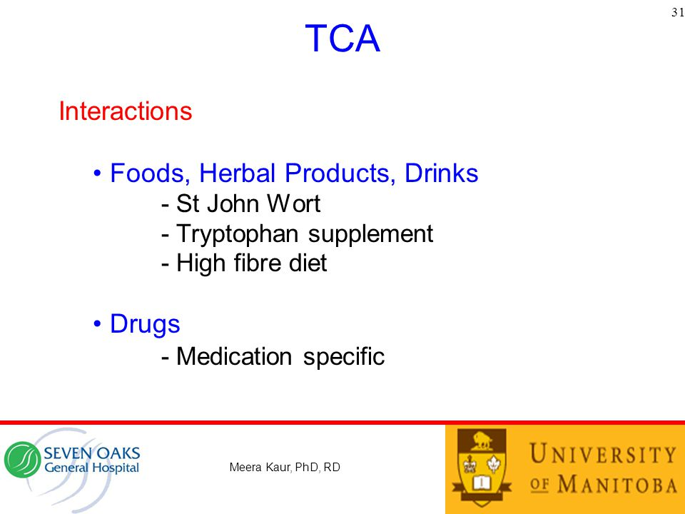 TCA Interactions Foods, Herbal Products, Drinks Drugs - St John Wort