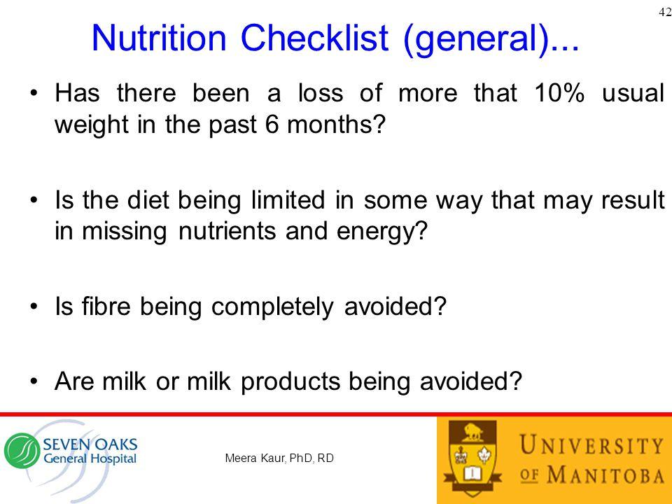 Nutrition Checklist (general)...