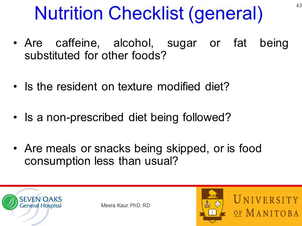 Nutrition Checklist (general)