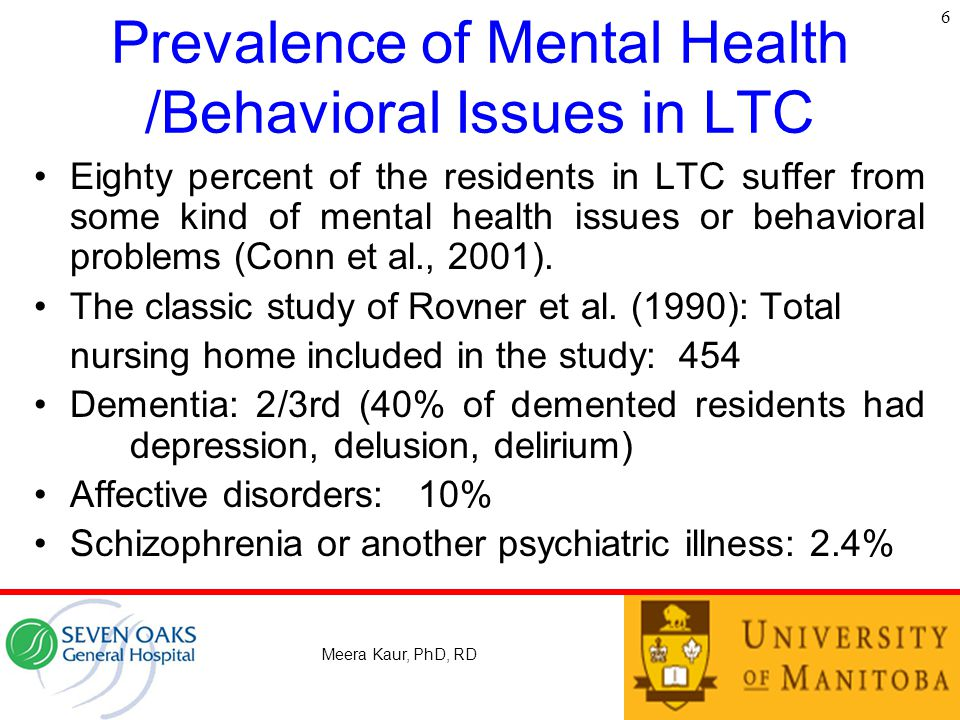 Prevalence of Mental Health /Behavioral Issues in LTC