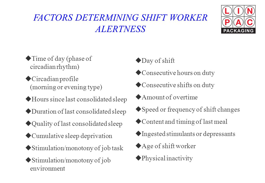 FACTORS DETERMINING SHIFT WORKER ALERTNESS