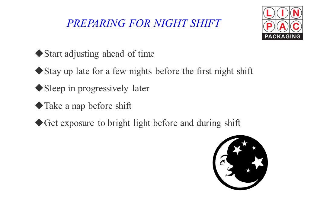 PREPARING FOR NIGHT SHIFT