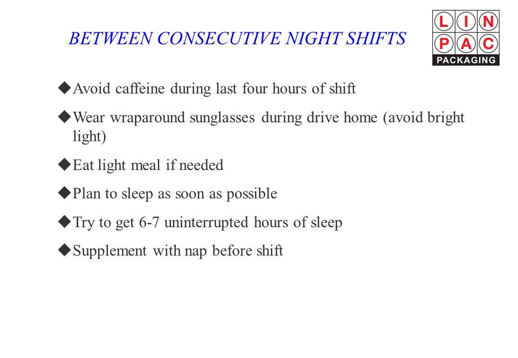 BETWEEN CONSECUTIVE NIGHT SHIFTS