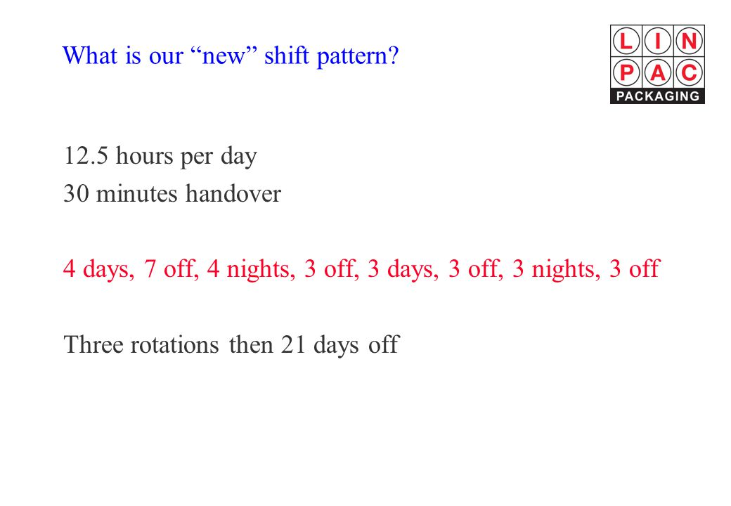 What is our new shift pattern