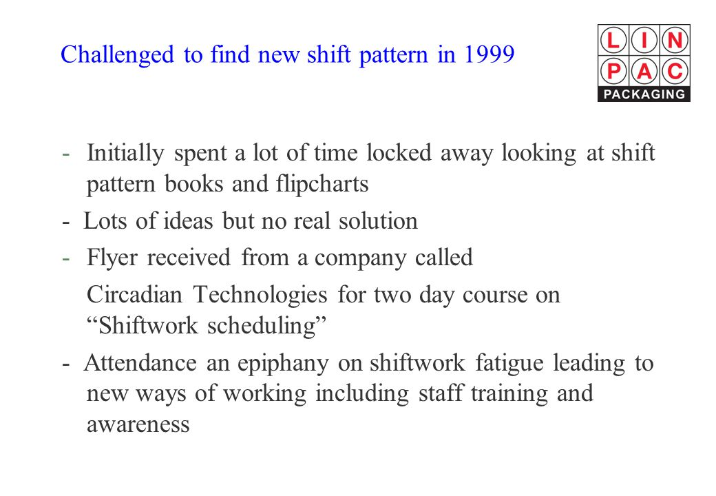 Challenged to find new shift pattern in 1999
