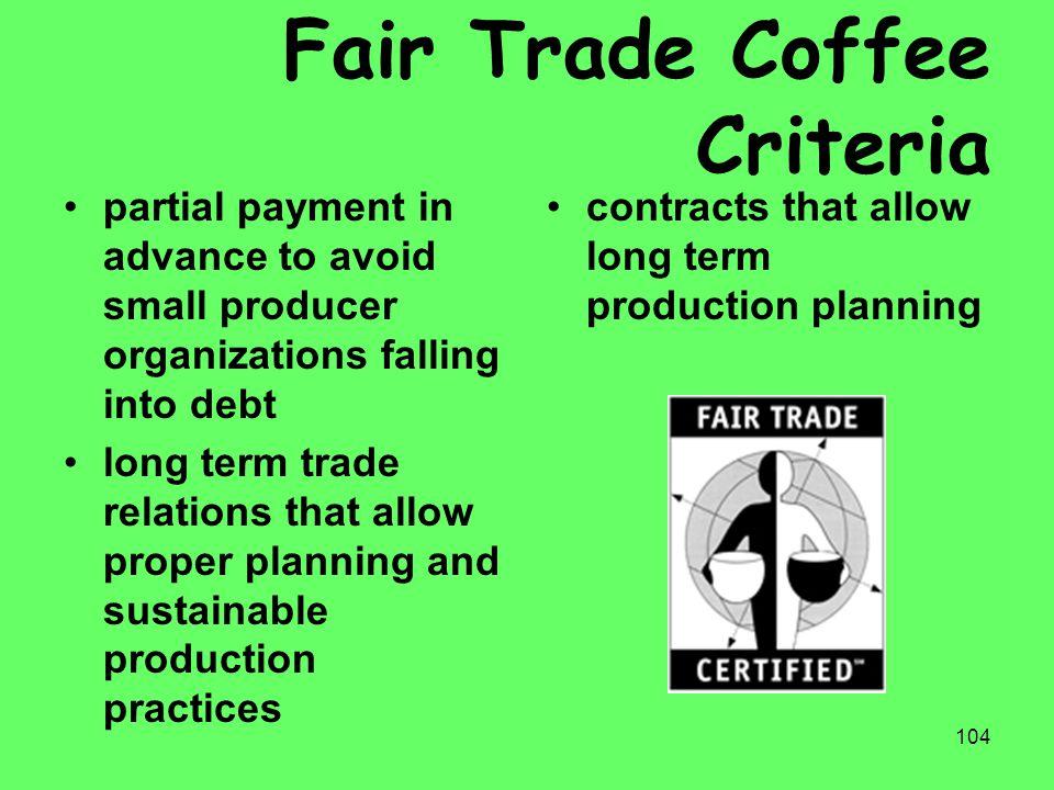 Fair Trade Coffee Criteria