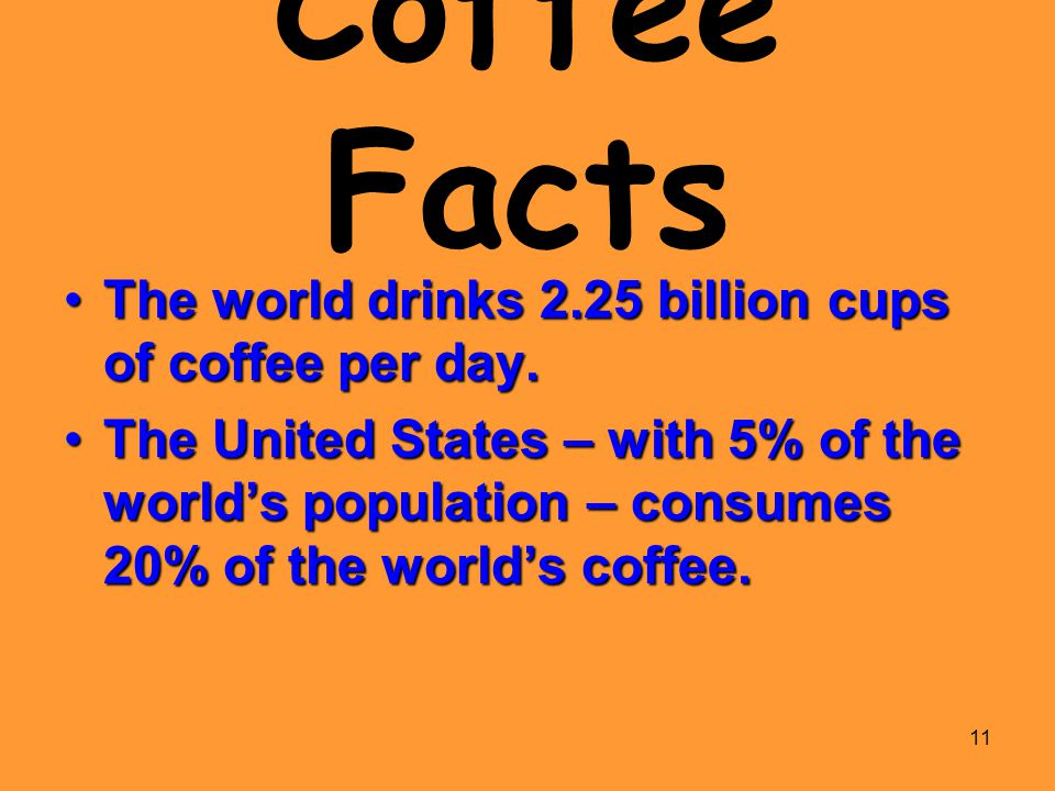 Coffee Facts The world drinks 2.25 billion cups of coffee per day.