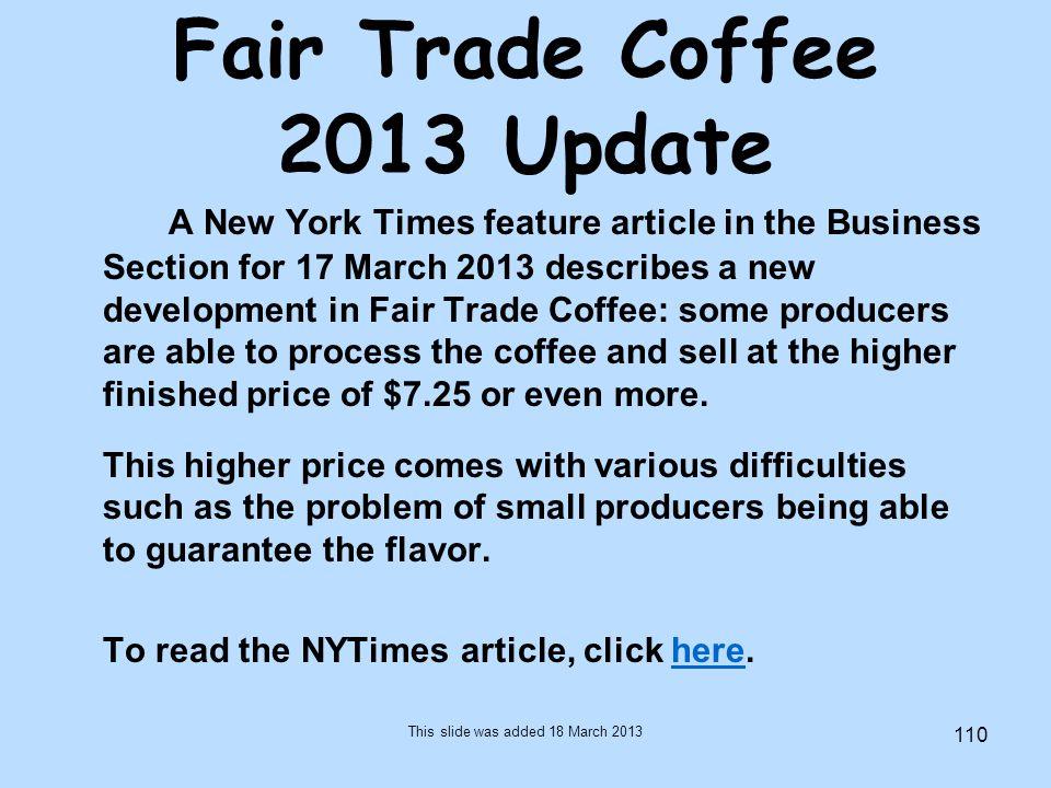 Fair Trade Coffee 2013 Update