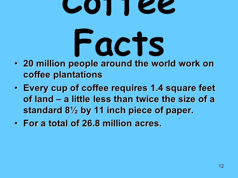 Coffee Facts 20 million people around the world work on coffee plantations.