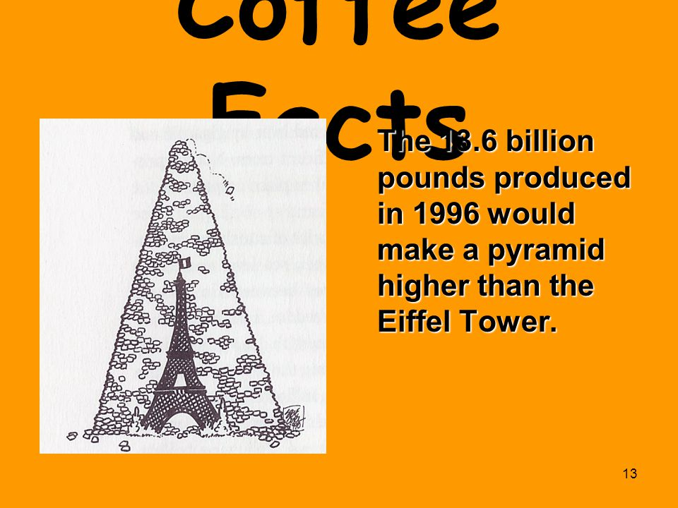 Coffee Facts The 13.6 billion pounds produced in 1996 would make a pyramid higher than the Eiffel Tower.