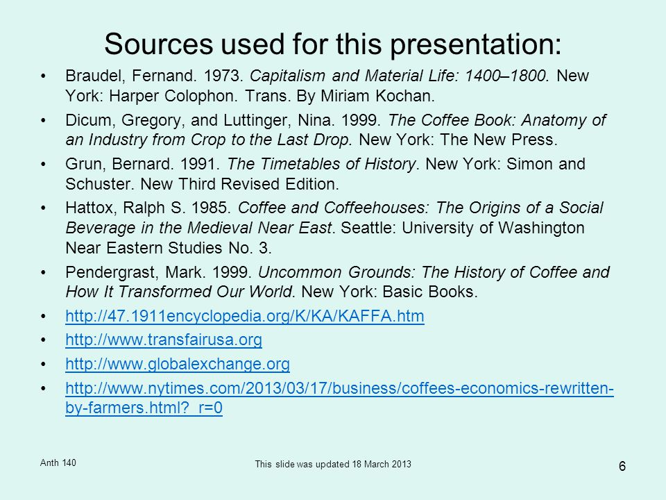 Sources used for this presentation: