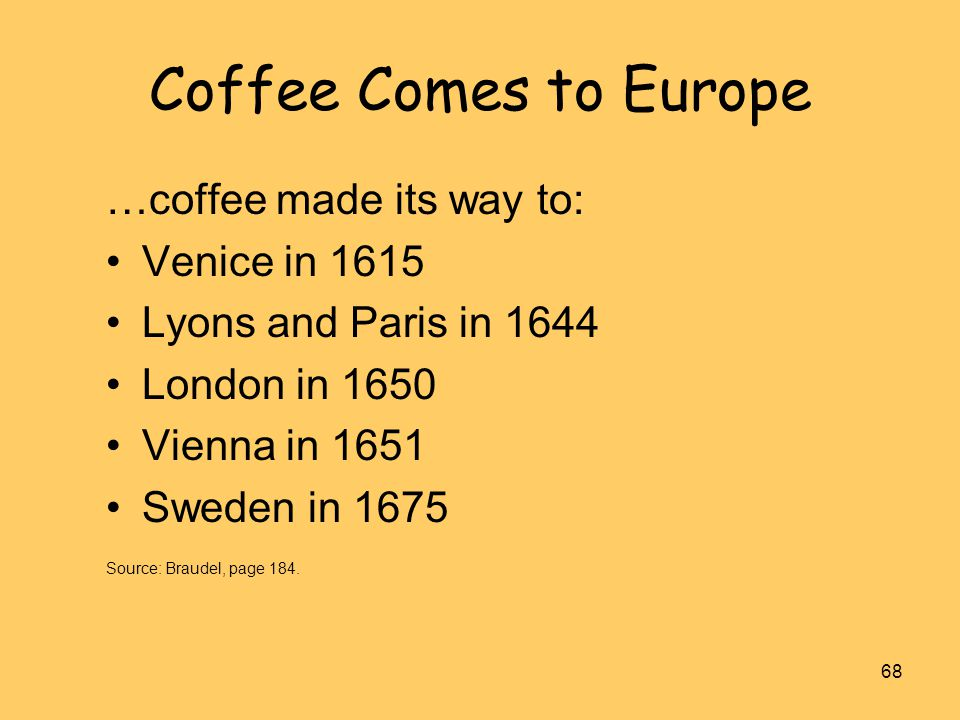 Coffee Comes to Europe …coffee made its way to: Venice in 1615