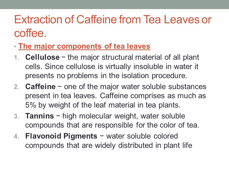 isolation of caffiene from tea 1 to isolate caffeine from tea by solid-liquid and liquid-liquid extraction 2 to purify the product by sublimation introduction procedures: isolation of caffeine and purification of caffeine by sublimation results and calculations: table 1: weight of crude caffeine.