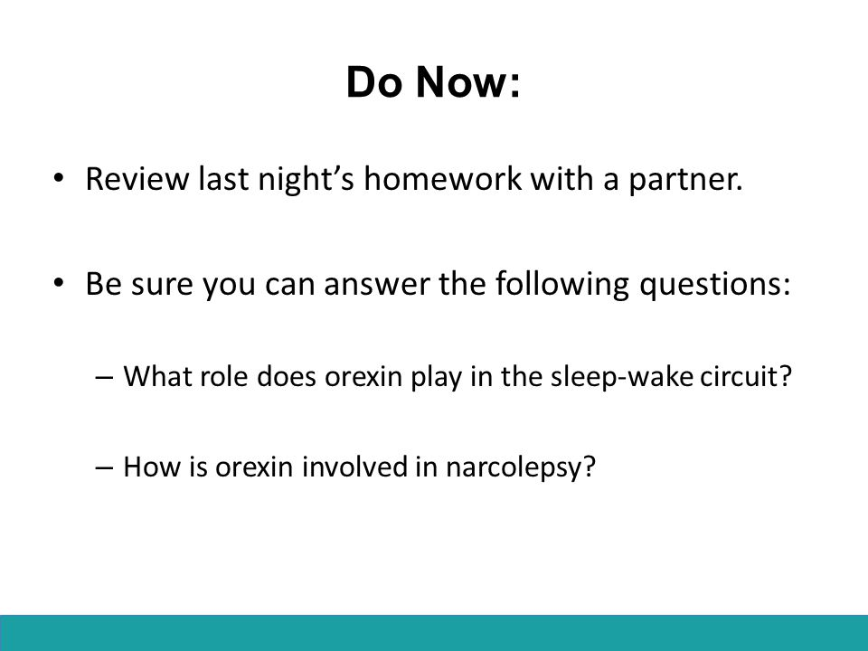 Do Now: Review last night's homework with a partner.