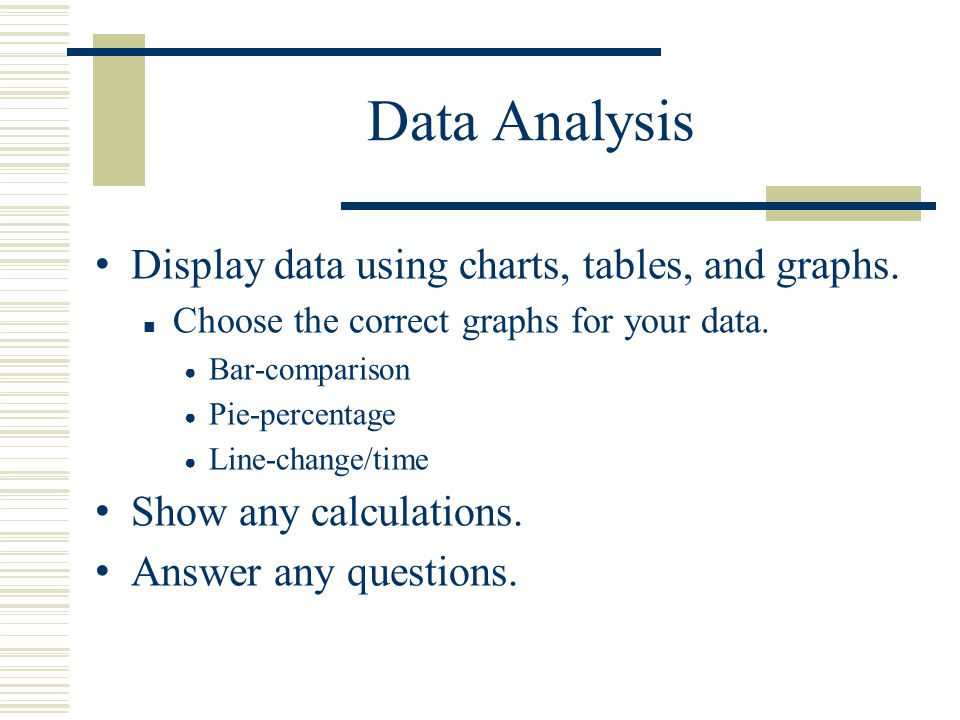 Data Analysis Display data using charts, tables, and graphs.