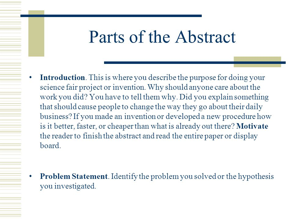 Parts of the Abstract