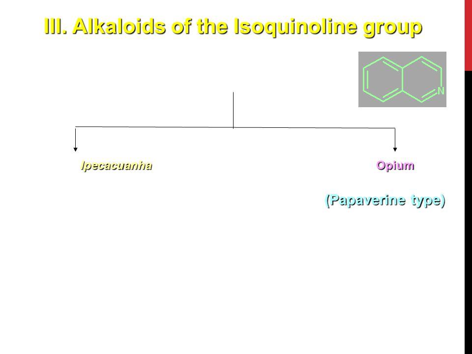 III. Alkaloids of the Isoquinoline group