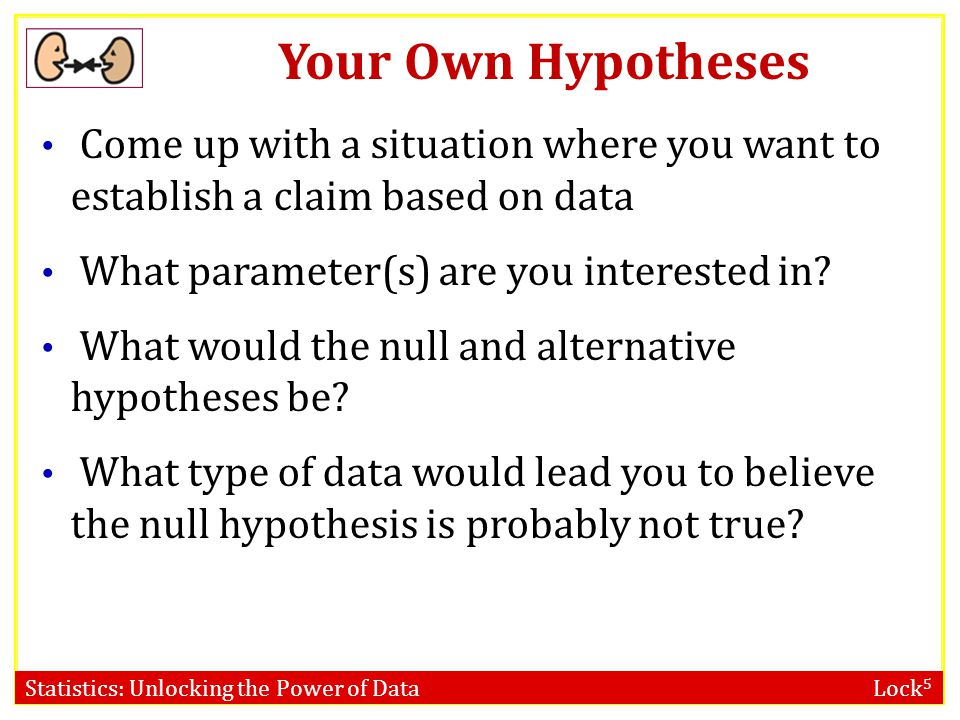 Your Own Hypotheses Come up with a situation where you want to establish a claim based on data. What parameter(s) are you interested in
