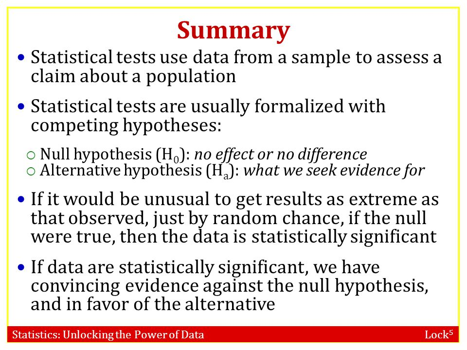Summary Statistical tests use data from a sample to assess a claim about a population.