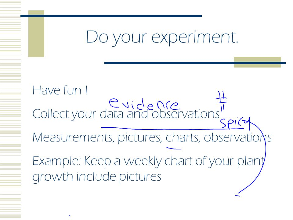 Do your experiment. Have fun ! Collect your data and observations
