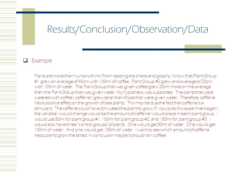 Results/Conclusion/Observation/Data