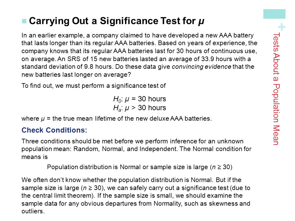 Tests About a Population Mean