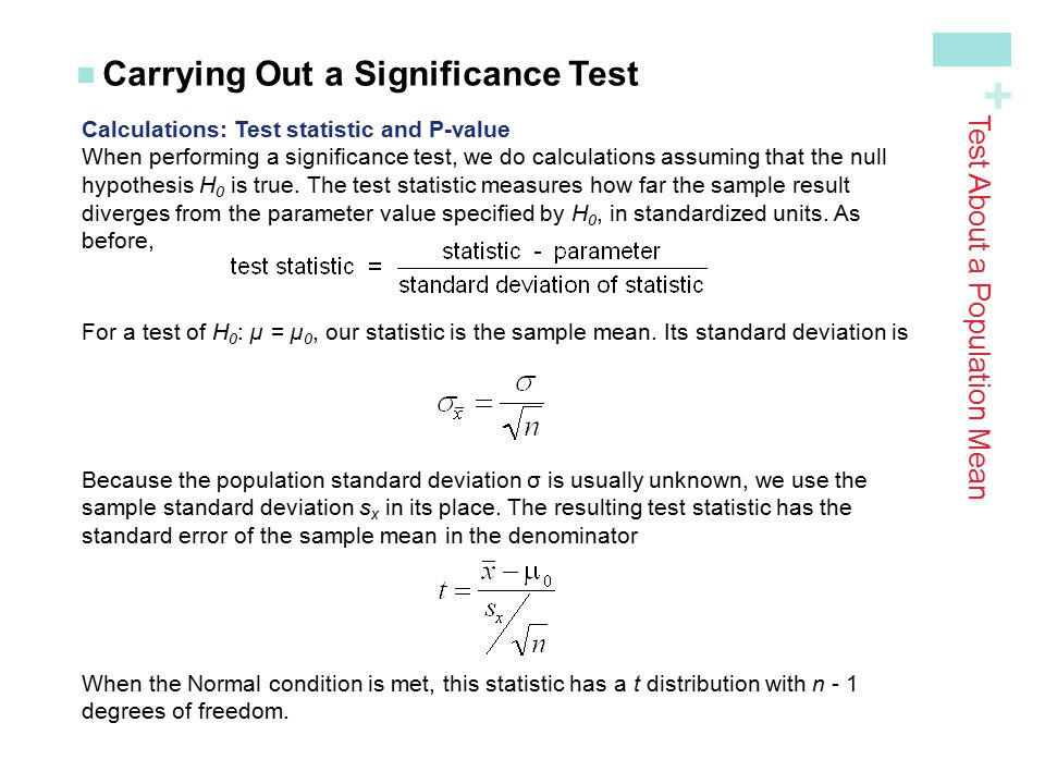 Test About a Population Mean