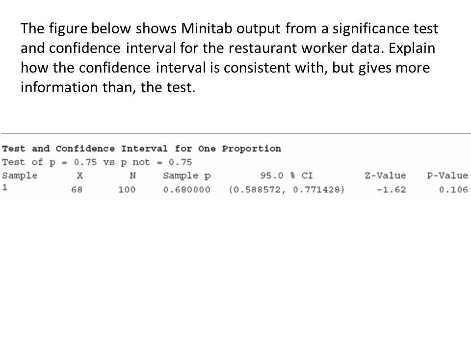 The figure below shows Minitab output from a significance test and confidence interval for the restaurant worker data.