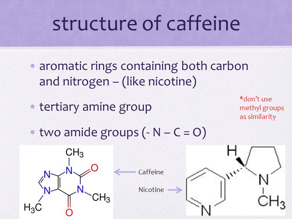 structure of caffeine aromatic rings containing both carbon and nitrogen – (like nicotine) tertiary amine group.