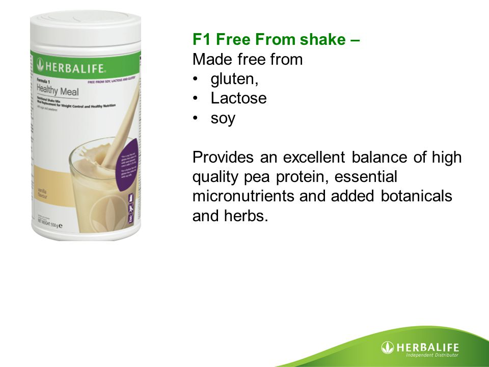 F1 Free From shake – Made free from. gluten, Lactose. soy.