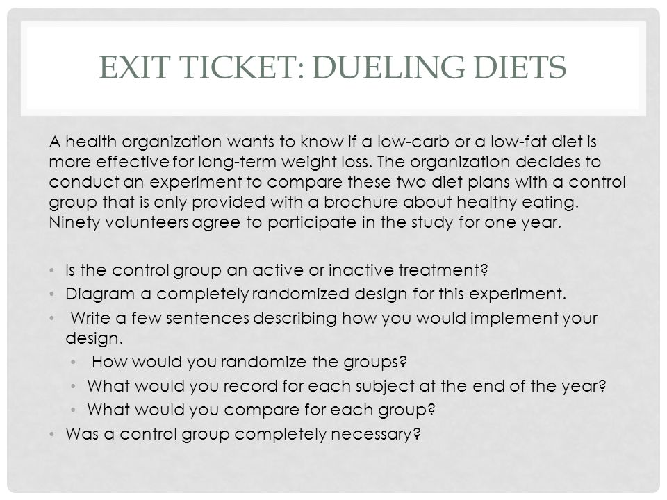 Exit ticket: dueling diets
