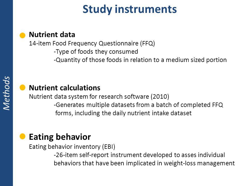 Study instruments Methods