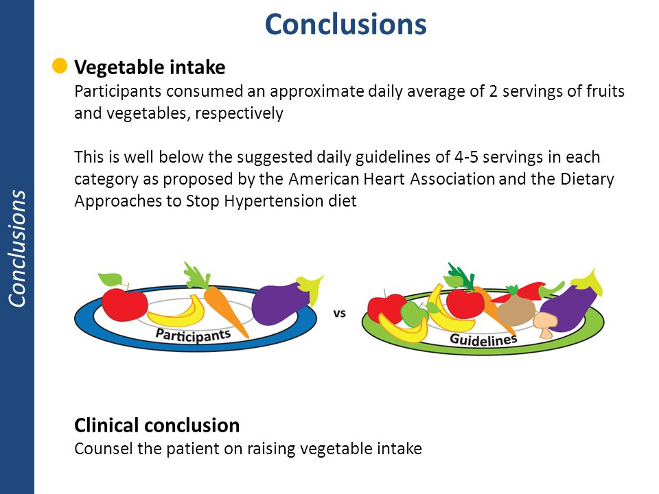 Conclusions Conclusions Vegetable intake Clinical conclusion