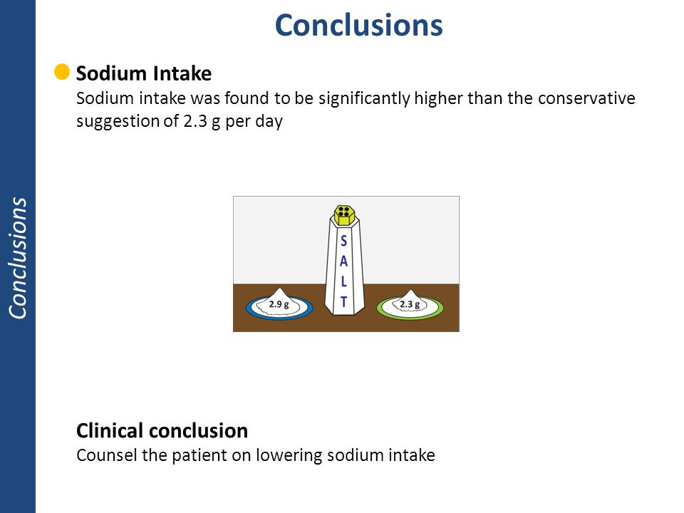 Conclusions Conclusions Sodium Intake Clinical conclusion