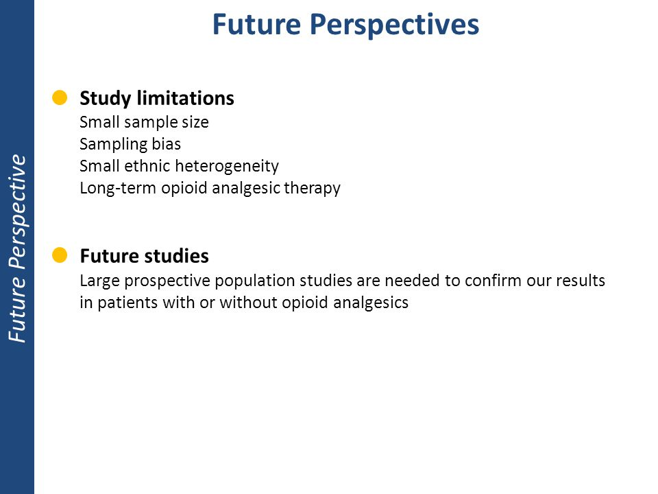 Future Perspectives Future Perspective Study limitations