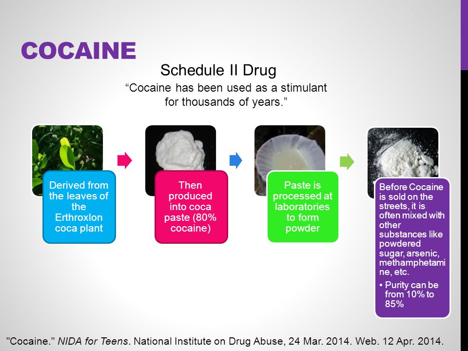 Cocaine Schedule II Drug Cocaine has been used as a stimulant