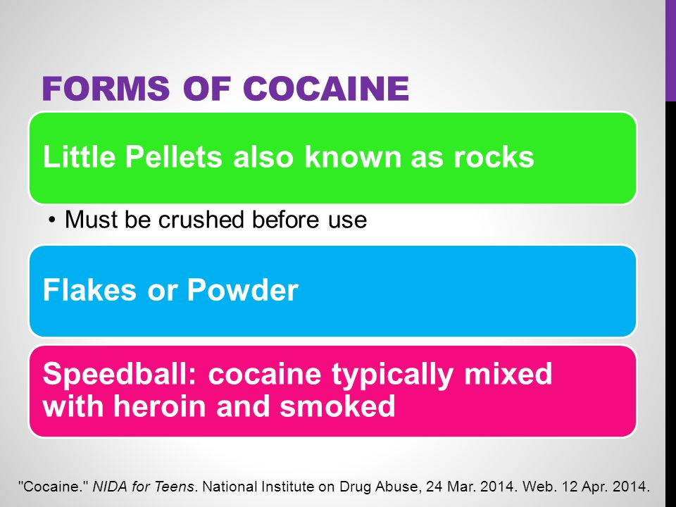 Forms of Cocaine Little Pellets also known as rocks Flakes or Powder