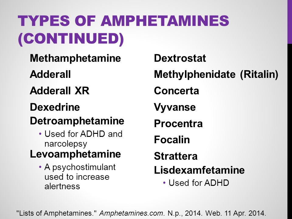 Types of Amphetamines (Continued)